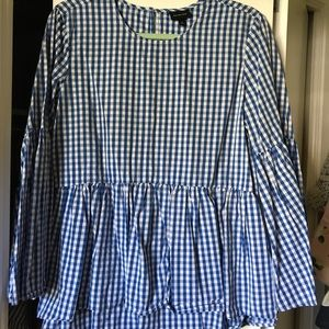 Blue and white gingham blouse with bell sleeves